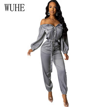 WUHE Rompers with Belt for Women Sexy Off Shoulder Long Sleeve Button Decoration Female Playsuits Autumn Elegant Jumpsuits