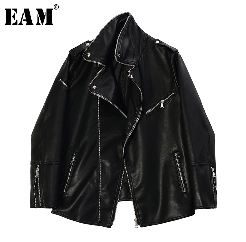 [EAM] Loose Fit Black Pu Leather Split Joint Big Size Jacket New Lapel Long Sleeve Women Coat Fashion Tide Spring 2020 1R724