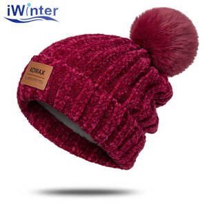 Winter Hat Pompom-Hat Knit Chenille Thick Women Soft Solid-Color for Warm Beanie Plush-Lining