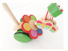 Creative New Style Children Rotating Butterfly Single Pole Kindergarten Wooden Trolley Baby Toddler Toy a Generation of Fat