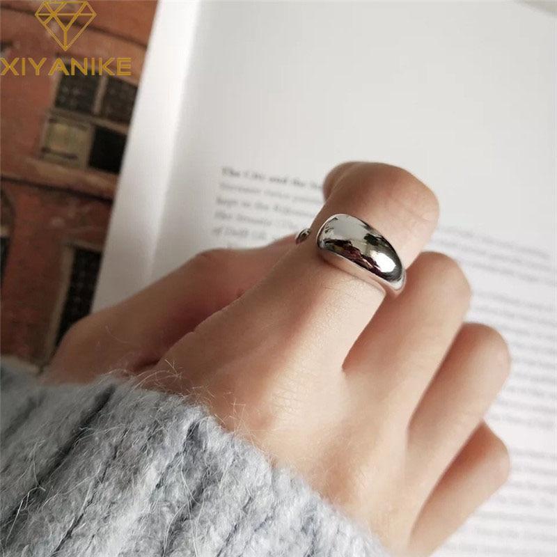 XIYANIKE 925 Sterling Silber Kunden Drop-förmigen Ring Geometrische Glatte Oberfläche Einfache Mode Persönlichkeit Öffnung INS Ring