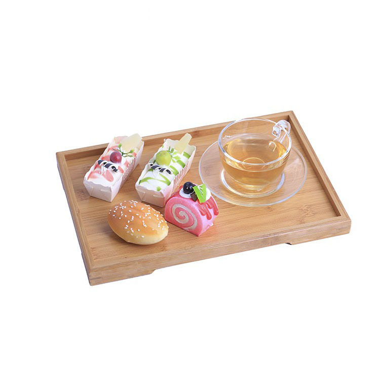 Simple Small Bamboo Tray Rectangular Right Angle Household Tea Cup Coffee Tray Tea Tray Snack Plates