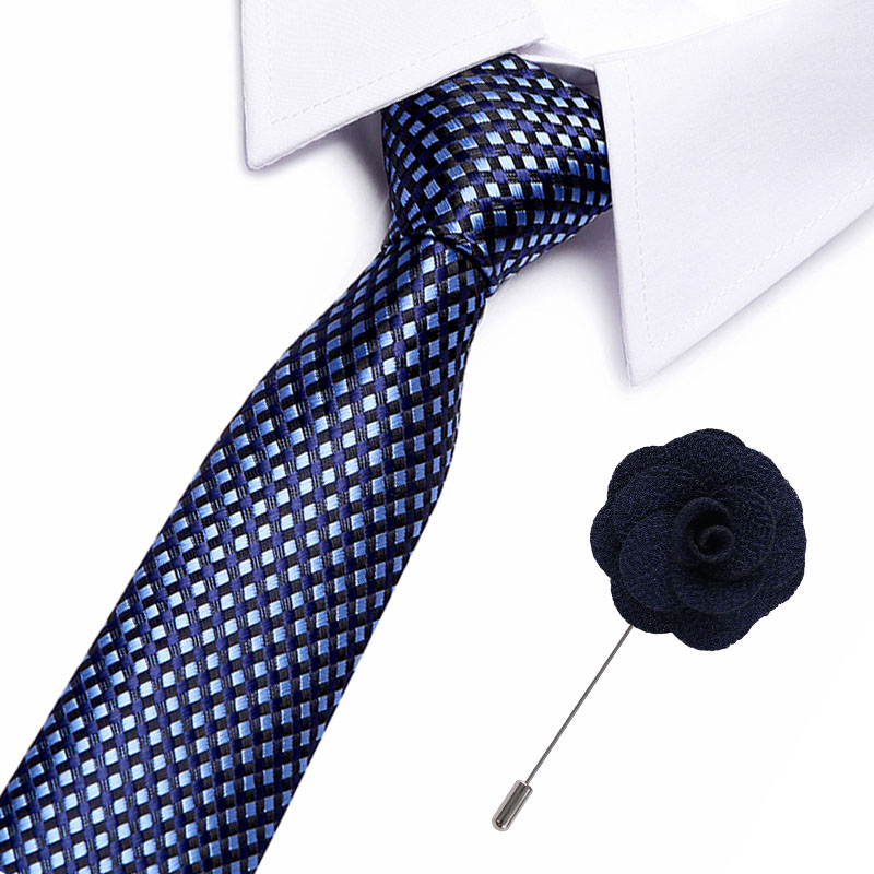 New 100% Silk Men's Ties Plaid Neck Ties 7.5cm Ties With Flower Pin For Men Formal Business Wedding Party Neckties
