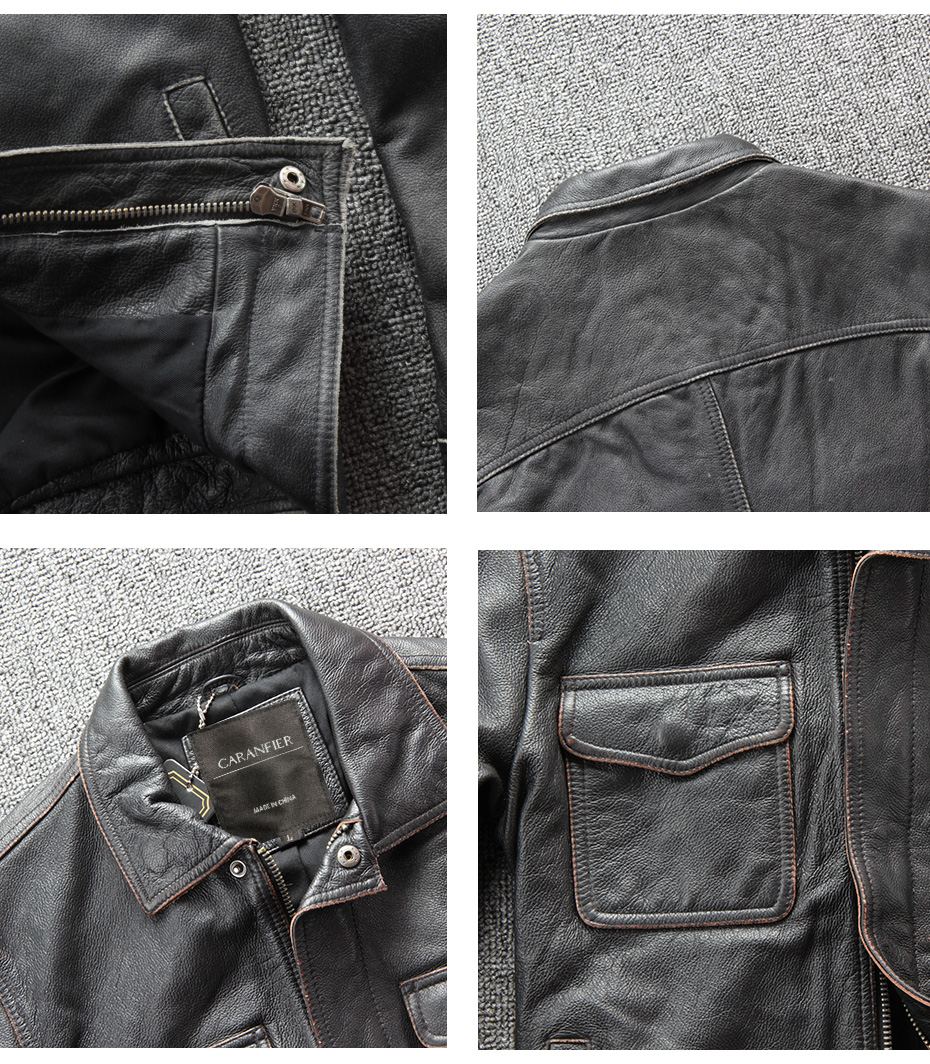 H270106d493ea4ee9959dde43017cdbb3h CARANFIER DHL Free Shipping Mens 100% Cowhide Genuine Leather Jacket High quality old retro motorcycle leather jacket 3XL