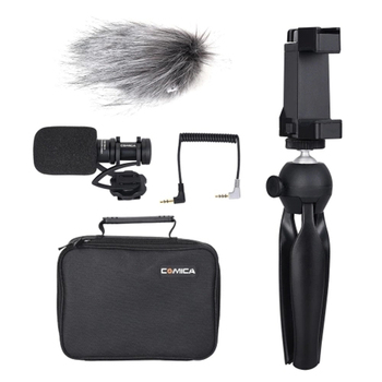 Comica Cvm-Vm10-K2 Smartphone Video Rig Kit with Cardioid Directional Video Microphone Phone Holder Mini Tripod for Iphone Sam