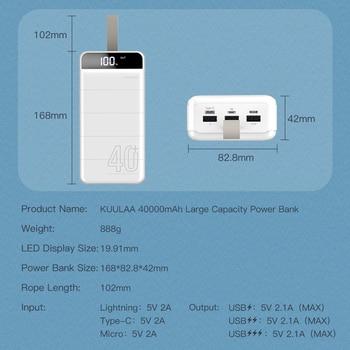Внешний аккумулятор KUULAA Power Bank 40000 мАч 6