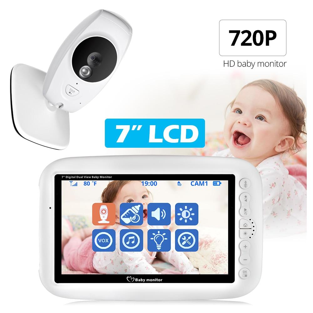 7 cal bezprzewodowy niania elektroniczna Baby Monitor 720P HD niani wideo bezpieczeństwa kamera Night Vision monitorowanie temperatury