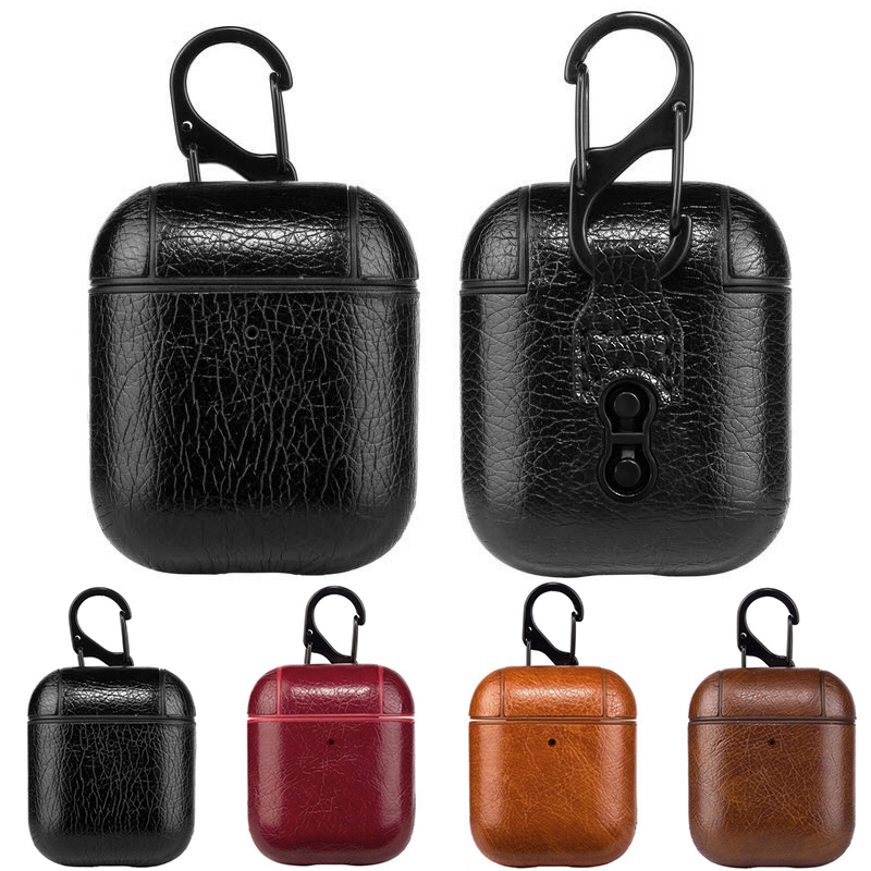 Luxury Bag For AirPods 1 2 Leather Carrying Shock Resistant Case Cover For AirPods 1 2 Leather Key Chain Case Accessories Film