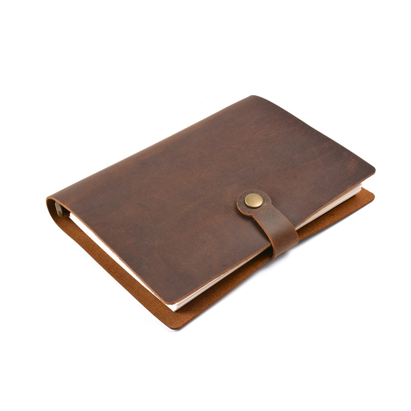 Genuine Leather Rings Notebook A5 Planner with Brass Binder Spiral Sketchbook Snap Button Personal Diary Stationery