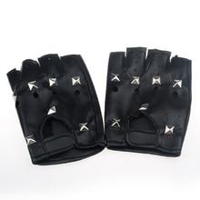 Модные женские туфли Для мужчин перчатки без пальцев мотор панк-перчатки Сенсорный экран черного цвета из искусственной кожи однотонные женские перчатки без пальцев для вождения luva