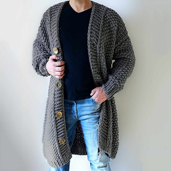 Men Sweater Cardigan Fashion Plain Casual Long Knitted Oversized Loose Plus Size Male Outwear Button Thin Jumper Coat
