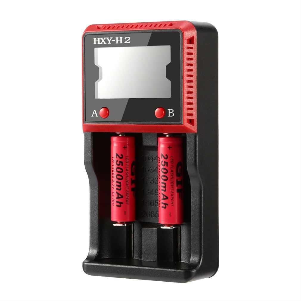 HXY-H2 الرقمية شاشة الكريستال السائل شاحن بطارية حماية متقدمة بطاريات ل 26650/18650/18490/17335/16340/10440 الأسود