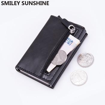 Magnet Rfid Blocking Card Holder Women Men Wallets Thin Slim Wallets Leather Coin Purse Small Male Black Mini Wallet portomonee 1