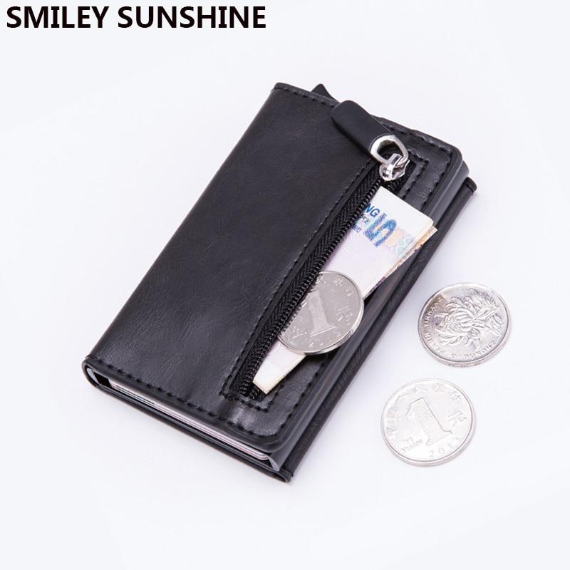 Magnet Rfid Blocking Card Holder Women Men Wallets Thin Slim Wallets Leather Coin Purse Small Male Black Mini Wallet portomonee