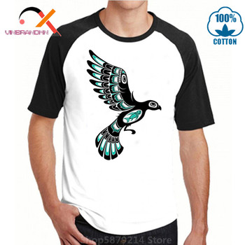 Awesome Artsy Men T shirts Teal Blue and Black Haida Spirit Flying Bird Digital Printing Geek design T-shirts Tops Cotton Tshirt image