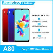 Blackview a80 android 10 go 4g celular 2gb + 16gb 6.21 cellwaterwaterdrop 13mp quad câmera traseira smartphones 4200mah celulares
