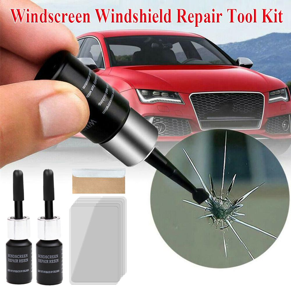 Car Windshield Repair Tool DIY Car Glass Repair Kit 2PCS Glass Scratch Crack Restore Window Screen Resin + 1pc Blade 5pcs Strips