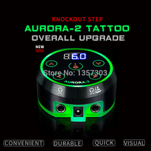 Mini alimentation électrique avec écran LCD AURORA, avec adaptateur dalimentation pour bobine et Machines à tatouer rotatives, nouveau modèle 2019