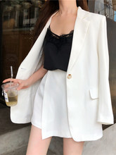 Office Ladies Fashion Woman Blazer Jackets Cotton Chic Long Coat Female 2019 White Slim Blazer For Women Casual Cardigan S0140(China)