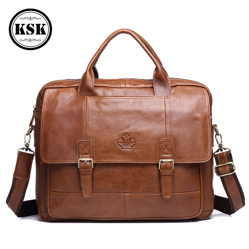 Men's Genuine Leather Bag Leather Laptop Bag Office Bags For Men Briefcase Shoulder Handbag Office Bags Luxury Handbag KSK