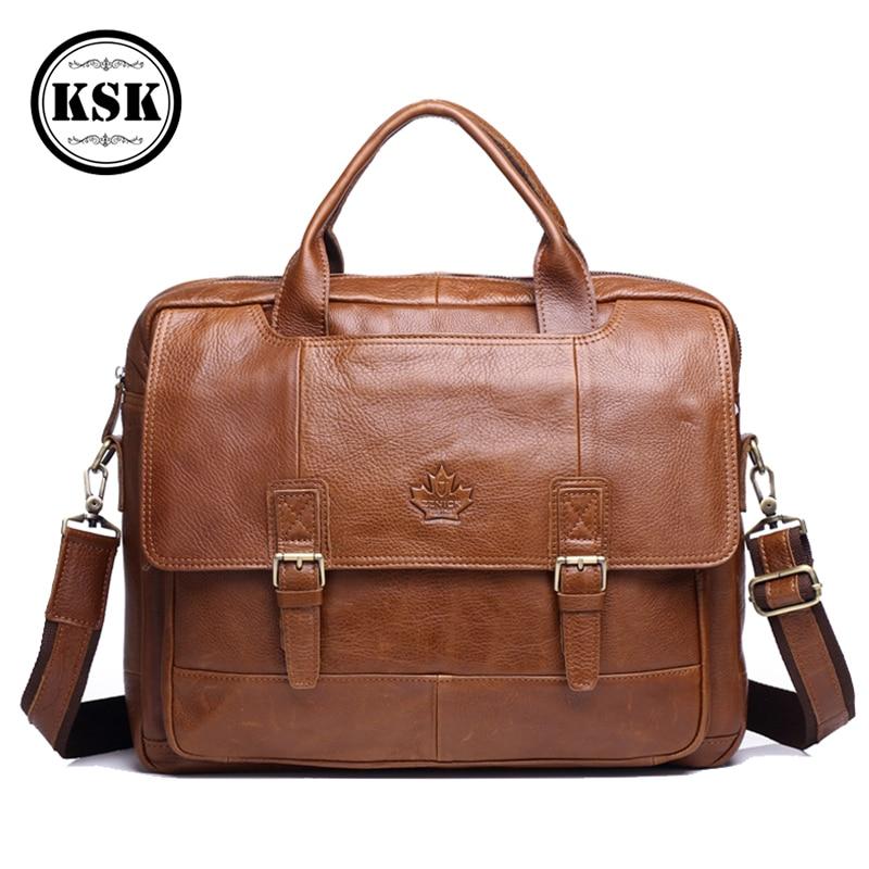 Men's Genuine Leather Bag Leather Laptop Bag Office Bags For Men Briefcase Shoulder Handbag Office Bags Luxury Handbag KSK