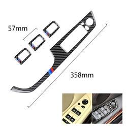 4 sztuk samochodów drzwi z włókna węglowego przycisk przełącznika do szyb pokrywa osłonowa Brand New czarny guzik wykończenia dla BMW serii 3 E90 2005 2012 LHD|Listwy wewnętrzne|   -