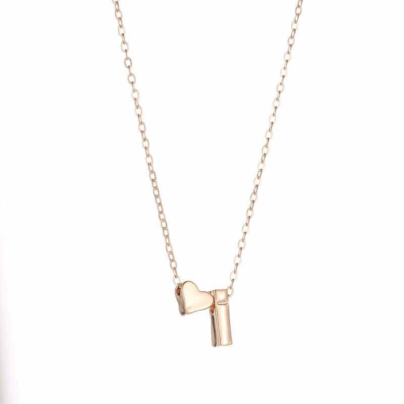 אופנה זעיר לב מעדן ראשוני אישית מכתב שם קולר שרשרת לנשים זהב צבע תליון התכשיטים