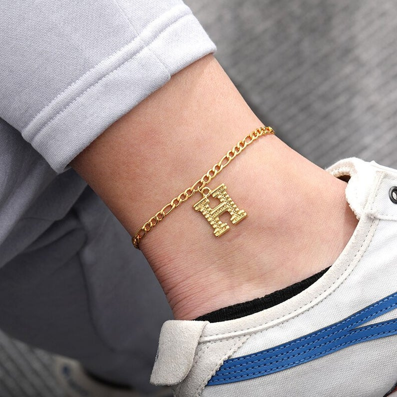 A-Z Alphabet Initial Anklets For Women Men Boho Jewelry Stainless Steel Letter Charm Foot Leg Bracelet Femme Best Friend Gifts