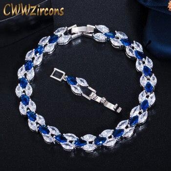 CWWZircons, impresionante Zirconia cúbica, joyería nupcial para boda, Color plata, cristal azul CZ, pulsera para dama de honor, regalo CB026