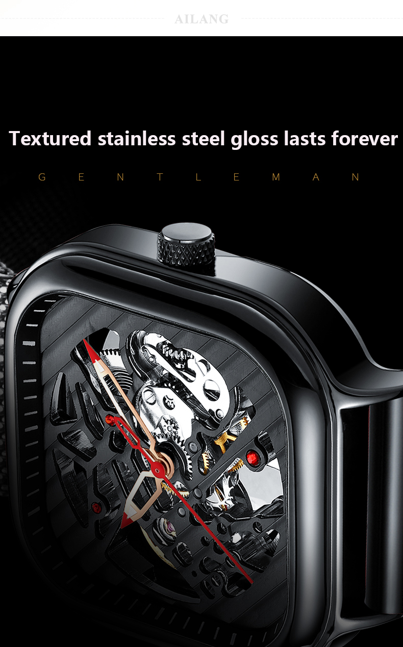 H27022515aa4d482b8f1df9cd3dc26100E 2020 new men's automatic watch brand luxury silicone strap hollow Swiss square ten watches