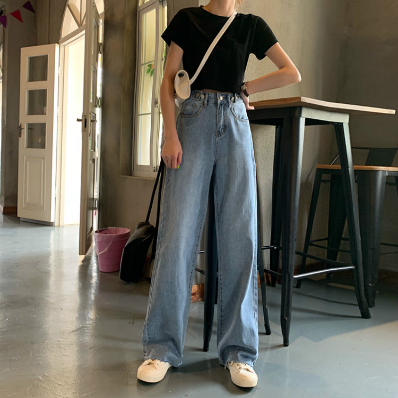 Jeans Women Long Trendy Elegant All-match High-quality Korean Style Loose Leisure Daily Womens Female Lovely Simple 2020 Retro