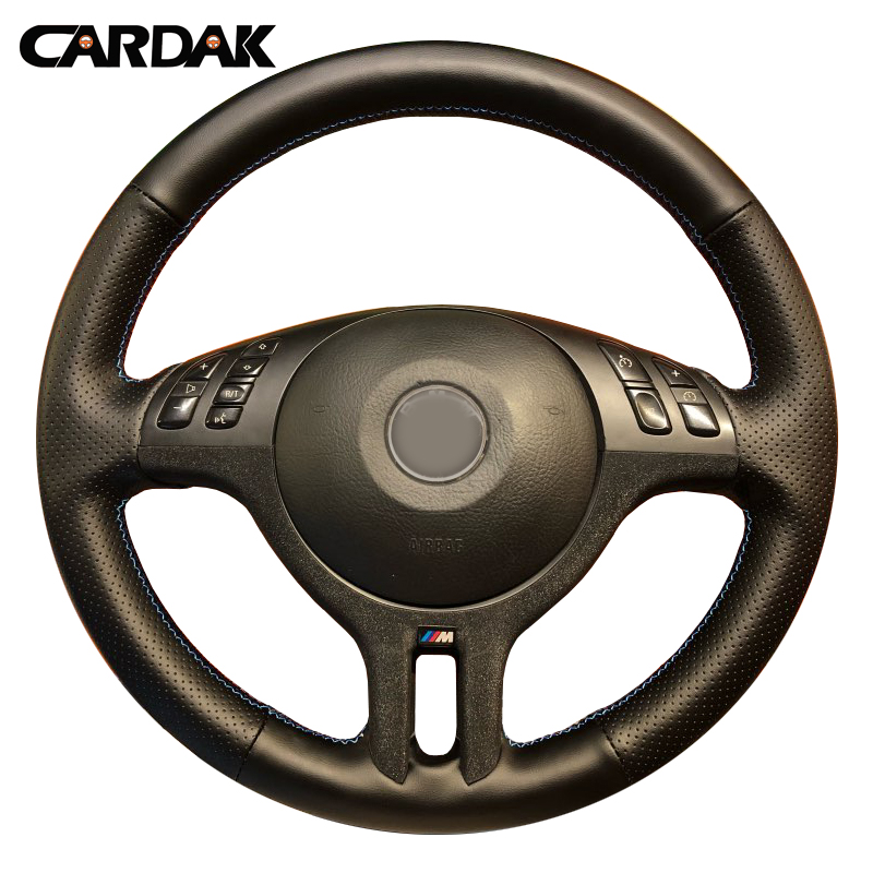 CARDAK Hand Stitched Black Artificial Leather Car Steering Wheel Cover for BMW E46 325i X5 E53 E39|Steering Covers| |  - title=