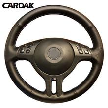 CARDAK – housse de volant de voiture en cuir artificiel noir, cousu à la main, pour BMW E46 325i X5 E53 E39
