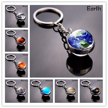 Solar System Planet Keychain Galaxy  Key Ring Moon Earth Sun Mars Art Picture Double Side Glass Ball Key Chain Accessories