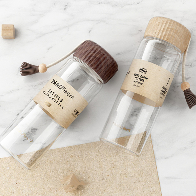 Borosilicate Glass Water Bottle 350ml Wooden Pattern Cover Tea Glass Bottles Drink Milk Cup Coffee Mug Hydro Flask Waterbottle 4