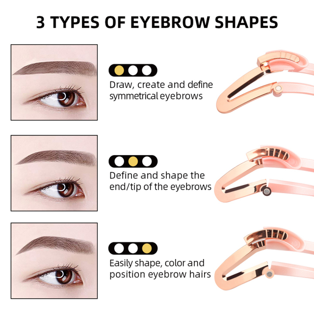2 Colors Eyebrows Card Reusable Adjustable Eyebrow Stencil Makeup Shaper Eye Brow Makeup Model Template Styling Tools Gift TSLM2 3