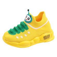 Детские кроссовки для бега унисекс для девочек и мальчиков; спортивная обувь из эластичного сетчатого материала с рисунком; модная удобная теннисная обувь для малышей; infantil menino