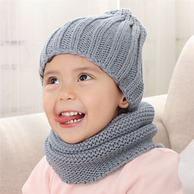 Multicolor Hat And Scarf For Children Solid Acrylic Kids Hat With A Scarf Knit Girls Boy Hats Scarves Set Winter Accessories