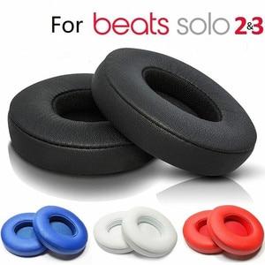Image 1 - 2 sztuk bezprzewodowe/przewodowe wymienne nauszniki poduszki na uderzenia Dre Solo 2 Solo 3 PU skórzane uszy poduszka pod kubek akcesoria do słuchawek
