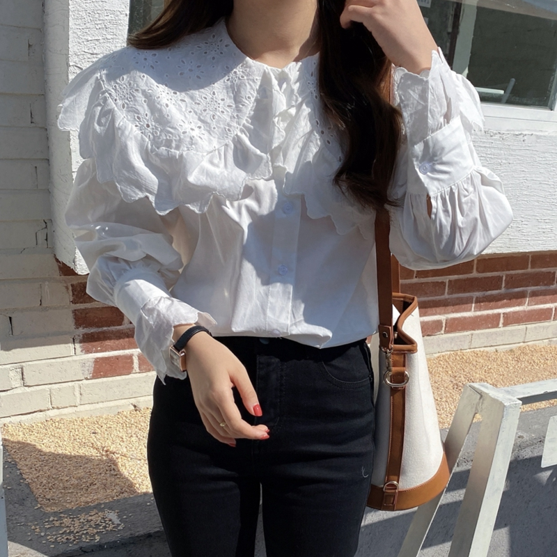 H2702951308734ee898c0b15a42879074O - Spring / Autumn Hollow Out Big Lapel Collar Puff Sleeves Loose Solid Blouse