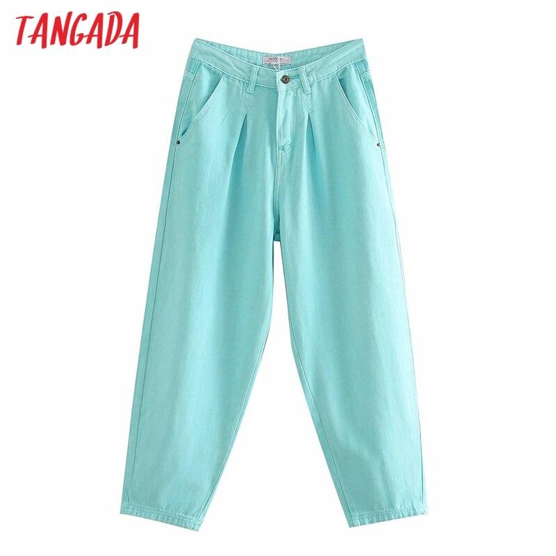 Tangada женские джинсы ярких цветов для мам, брюки 2020, новые длинные брюки с карманами, Свободные повседневные женские джинсовые брюки 4M200 Джинсы      АлиЭкспресс