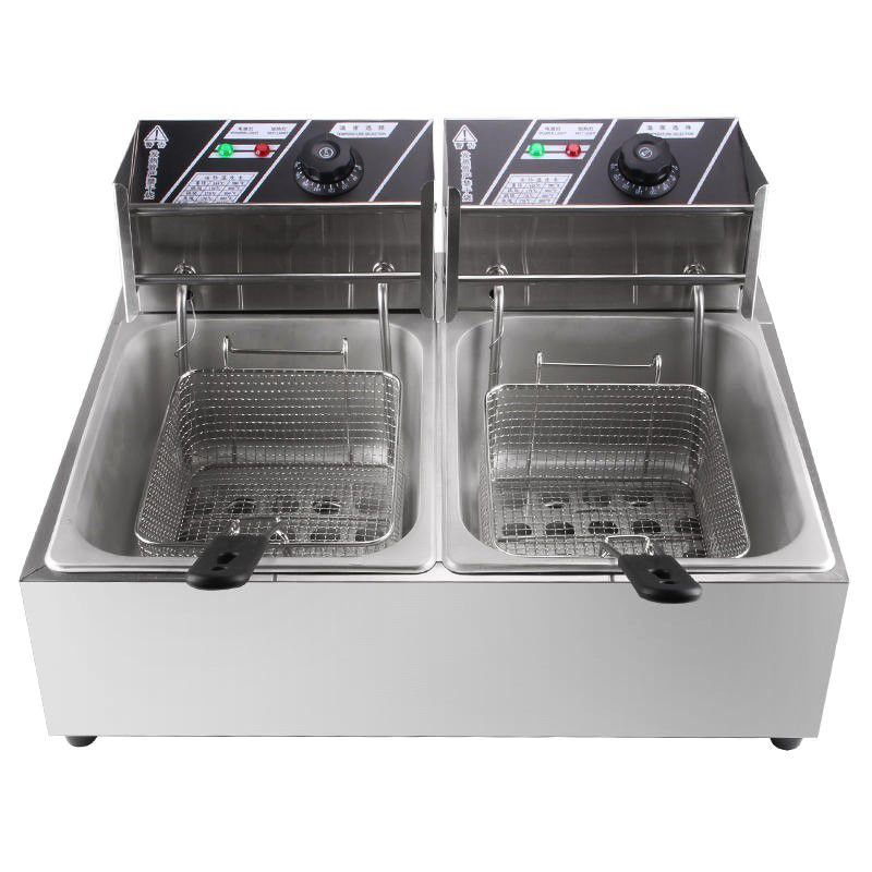 WK-82 Double Cylinder Electric Fryer Stainless Steel Commercial Electric Fryer French Fries Fried Chicken Fryer
