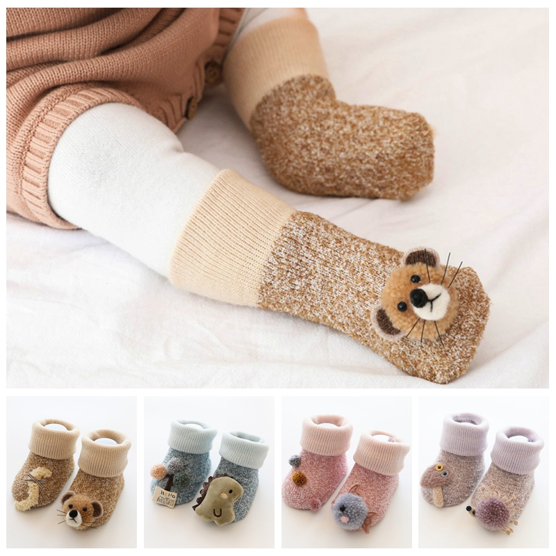 Baby Slipper Socks Autumn/winter Casual Cute Cartoon Boys Girls Socks Cotton Thickened Coral Fleece Warm Children's Socks