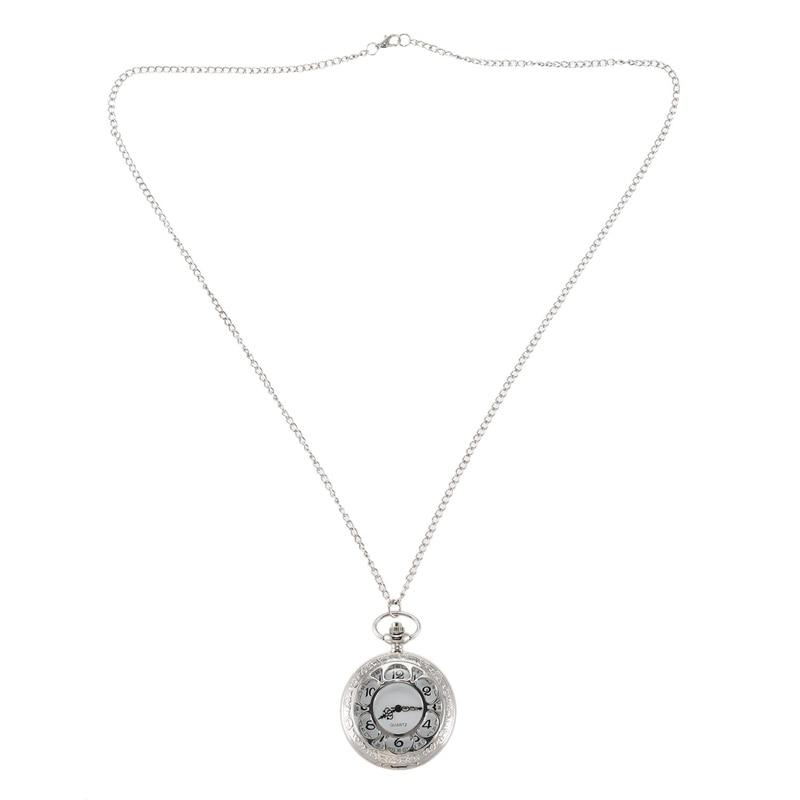 Petal Hollow Large Silver Petal White Pocket Watch Quartz Men'S And Women'S Retro Pocket Watch