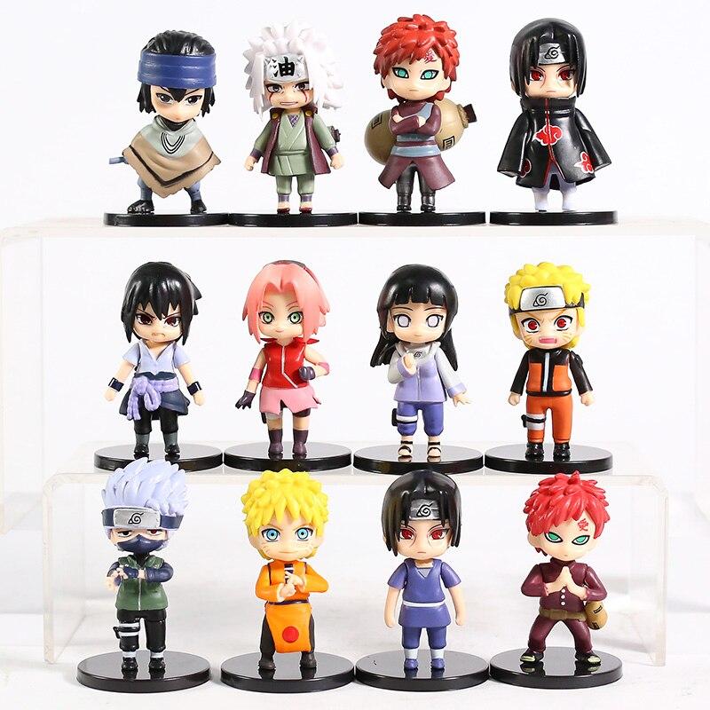 Naruto shippuden naruto hinata sasuke itachi sakura kakashi gaara jiraiya q versão figuras brinquedos bonecas 12 pçs/set
