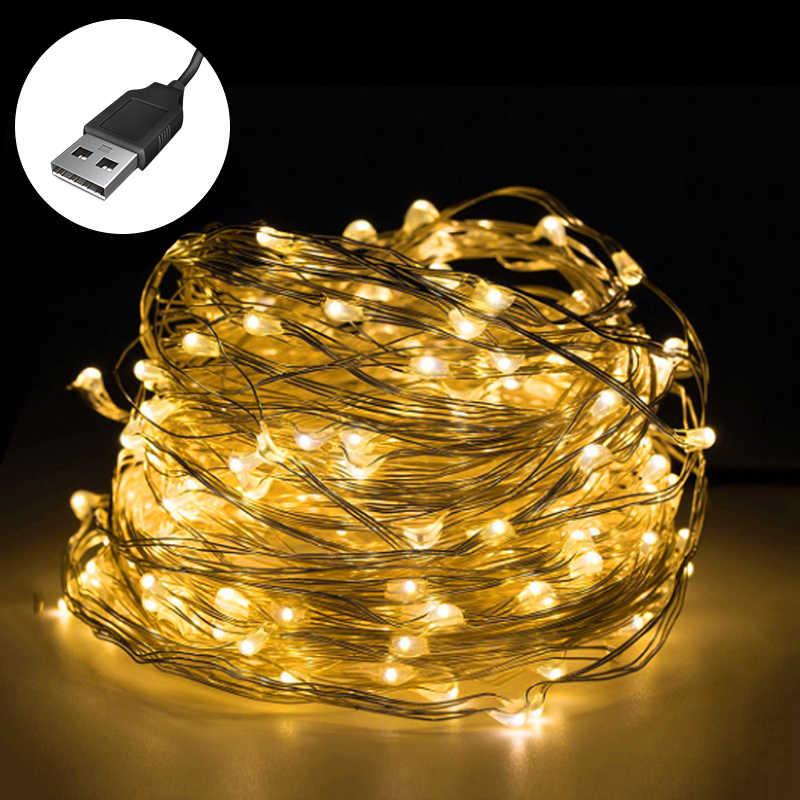 Tira de luces LED USB de 1/2/3/4/5/6/10m tiras de luz con cable de cobre para decoración de fiestas de Navidad bodas vacaciones al aire libre luces