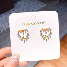 Korean Small Girl Heart Sweet Color Beads Love Earrings Female Cute Jewelry