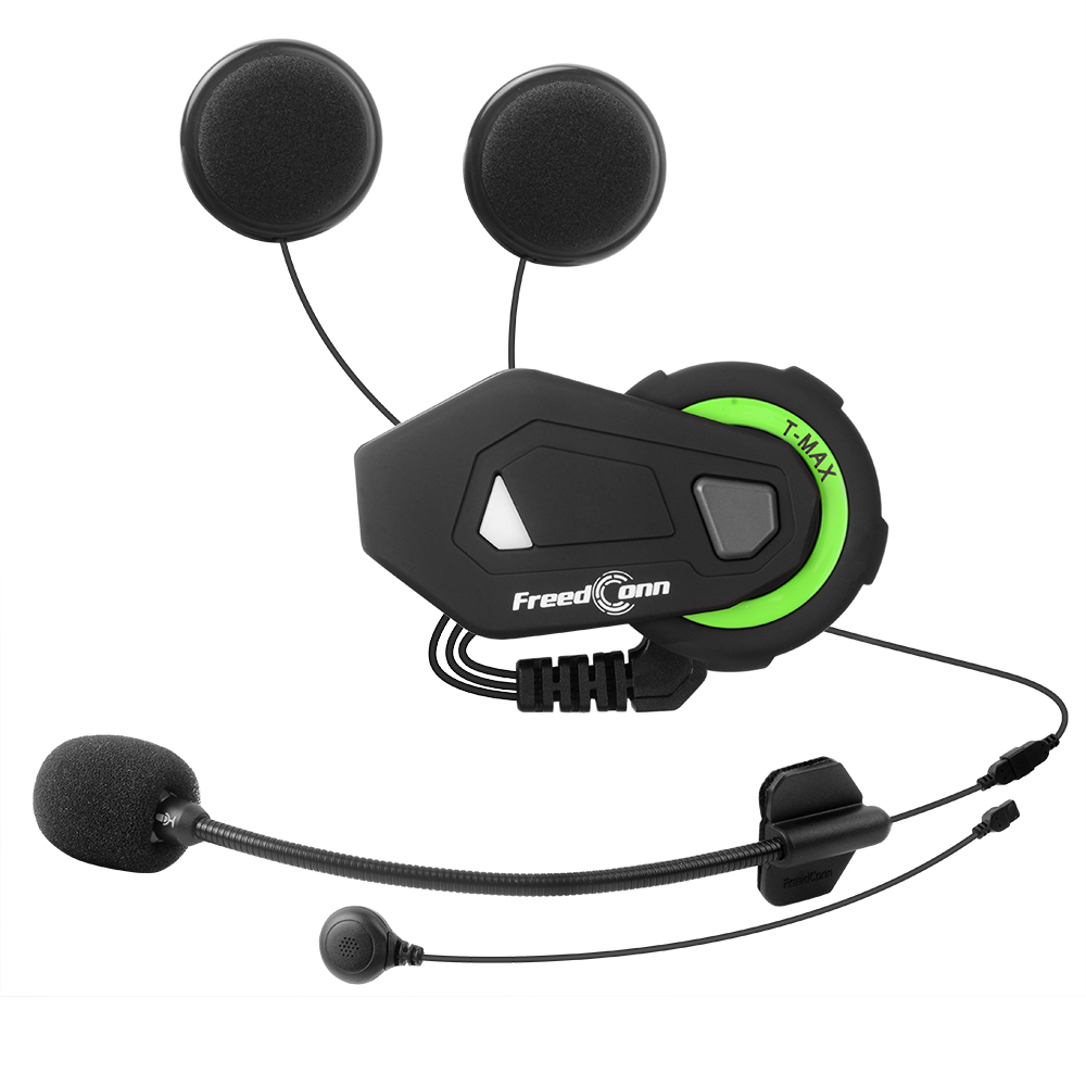 FreedConn TMAX-M Motorcycle Buletooth Music Headset Motorcycle Helmet FM Headset with 2 in 1 Earphone