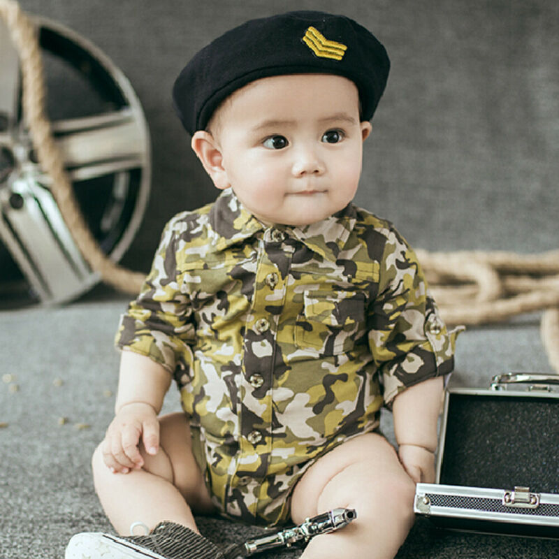 Handsome Imitation Military Camouflage Uniform Newborn Infant Baby Boy Girl Button Romper Bodysuit Jumpsuit Outfits Set Clothes