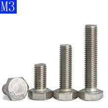 M3 - 0.5 (3mm) 304 parafusos completos métricos de aço inoxidável da cabeça do hexágono da linha a2-70 din 933